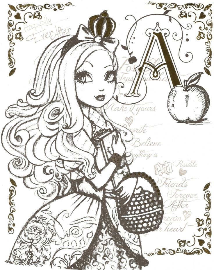 Beautiful Princess Of Ever After High Printable Coloring