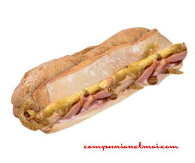 Sandwich jambon fromage fondu et oignon caramelisé