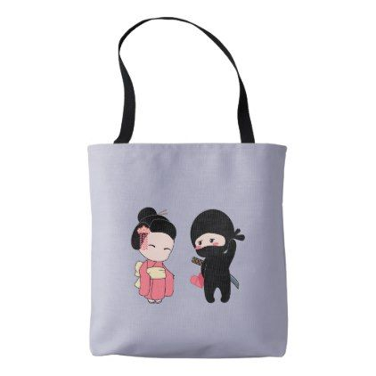 Valentine Ninja and Geisha on Lavender Grey Tote Bag - heart gifts love hearts special diy