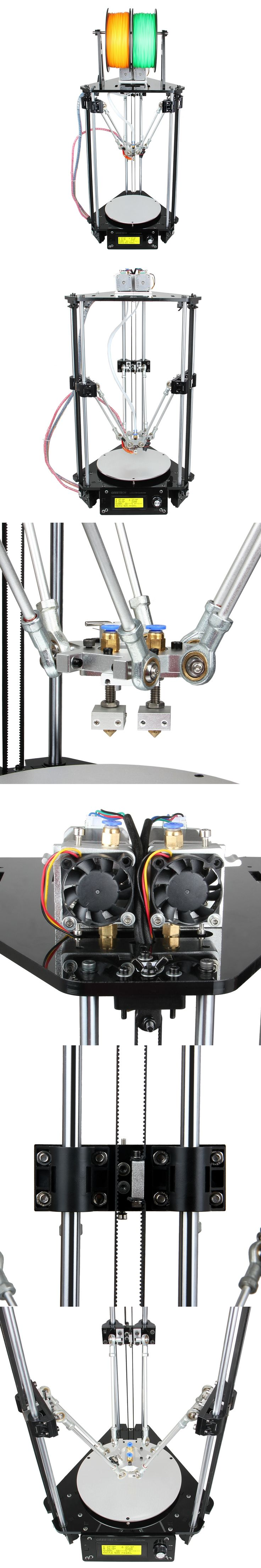 Geeetech Auto Leveling 3D Printer Dual Extruder Delta Rostock Mini G2s New Upgraded DIY Printing Kits