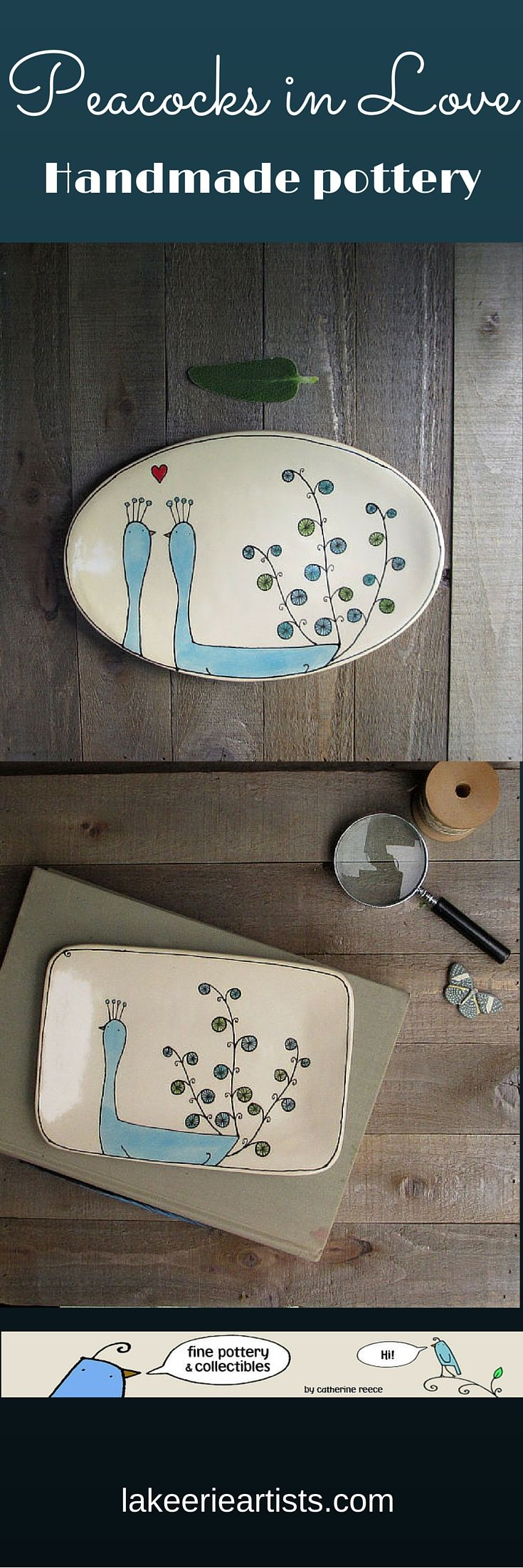I love this artist's work. Hand drawn peacocks on ceramic plates. So cute! All-occasion gifts. #peacocks #handmade