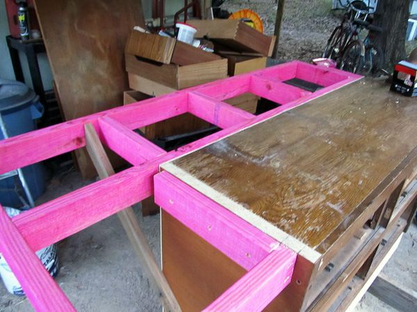 DIY Kitchen Island from Dresser- good instructions for building the support for the overhang