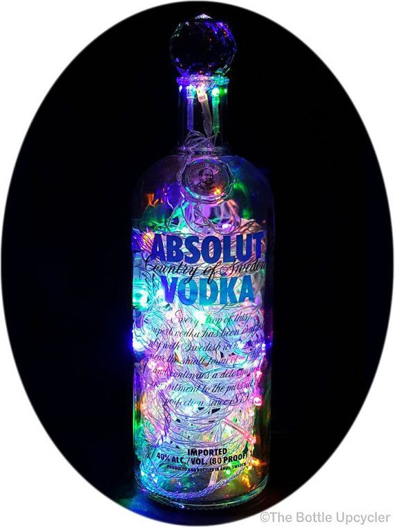 Upcycled Absolut Vodka Mood Therapy Liquor Bottle Light w/Multicolored LEDs