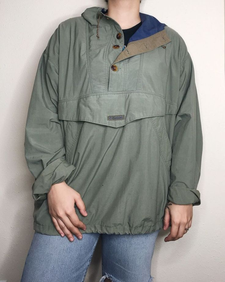 VTG Columbia Sportswear Mens Jacket Hooded 1/4 button up Kangaroo Pocket #Columbia #Windbreaker #vintagecolumbia #pnw #windbreaker #vintagewindbreaker #vintage #vtg #kangaroo #portland #fashion #90sfashion