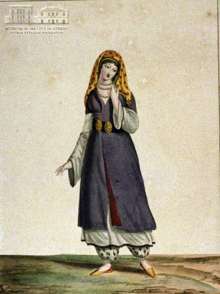 MANZONI (painter)  G.GATINE (1773-1824) (engraver) Woman from Sinopi in local attire copper engraving, 25 x 18 cm
