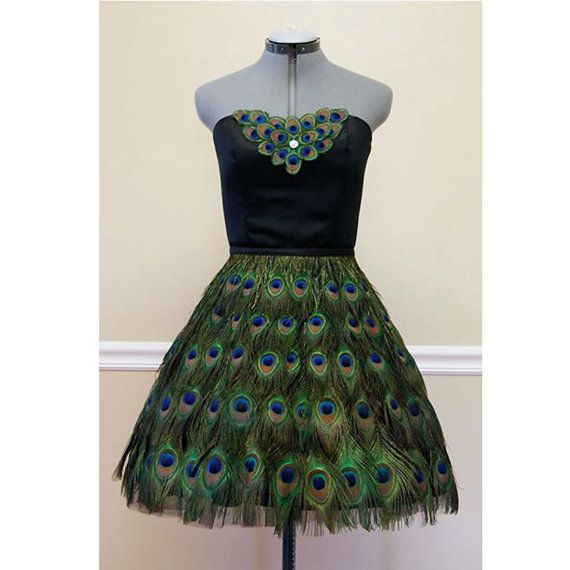 Peacock Feather Couture Strapless Knee Length Prom Formal Dress