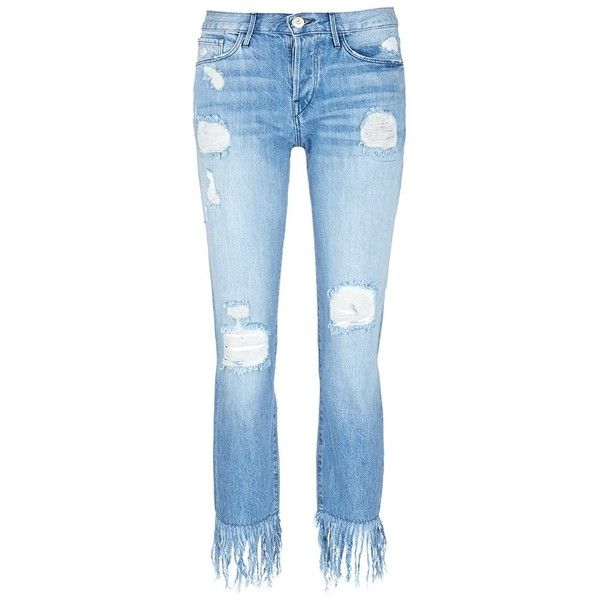 3x1 'WM3' fringe cuff distressed cropped jeans (£260) ❤ liked on Polyvore featuring jeans, blue, destructed jeans, 3x1 jeans, destroyed cropped jeans, torn jeans and distressing jeans
