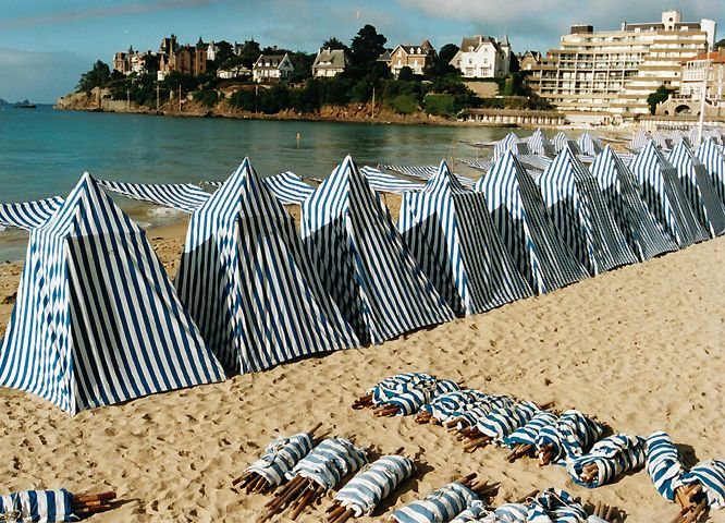 BEACH CABANAS AT DINARD, BRITTANY, FRANCE.