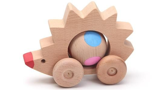Our little rolling hedgehog is ready to run around on his wheels .  Promotes creative play and imagination.  All wheels move freely. It can be driven