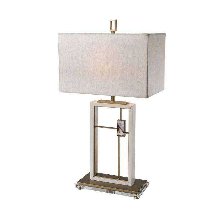 brass cream painted and amethyst mounted modern table lamp - Modern Table Lamp