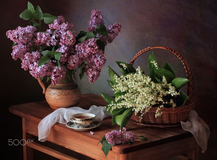 With spring bouquets - null