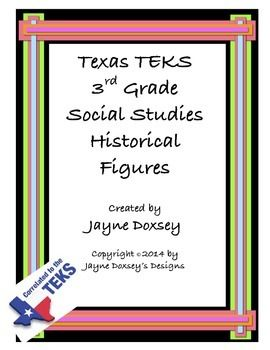 """These posters and interactive cards give a general overview of the key historical figures required in the Texas Social Studies TEKS for third grade. They include a picture, """"Helpful Hints"""" clues, and a brief overview. These help students take responsibility for their learning with limited classroom interruption."""