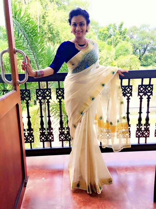 Kerala saree | traditional outfit | peacock feathers