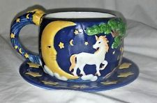 SPENCER GIFTS UNICORN CUP AND SAUCER BLUE