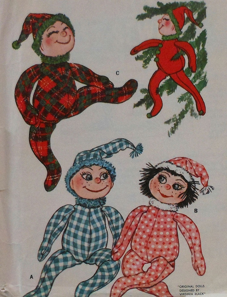 vintage christmas elf doll sewing pattern 1960s mccalls crafty