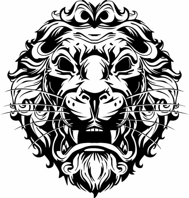 Convert Raster Image To Vector Lion Black And White Print -6951