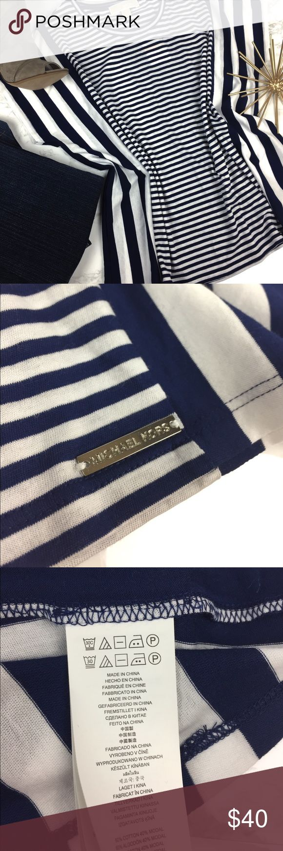 Michael Kors Tee Blue and white alternate stripes top by Michael Kors. Shirt is meant to be oversized and slouchy. Great basics top. NWT. 🌷 MICHAEL Michael Kors Tops Tees - Short Sleeve
