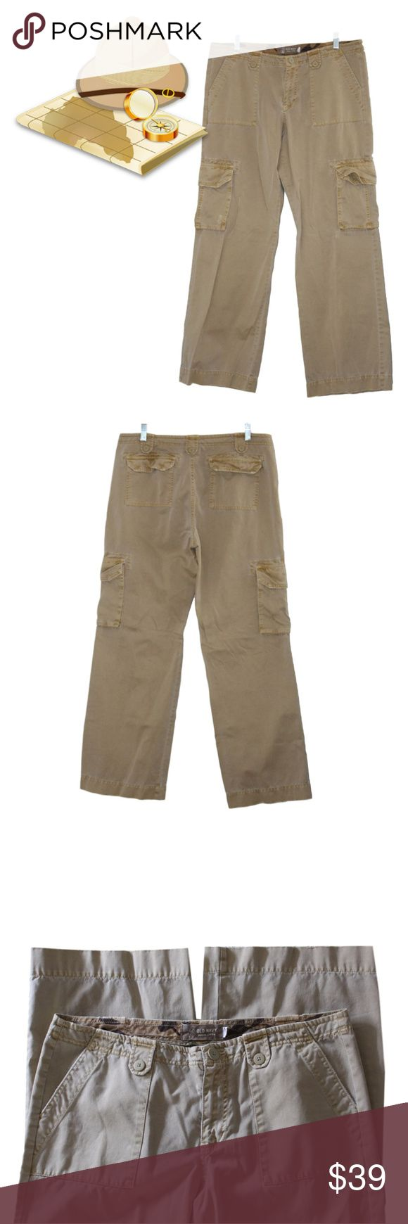 Old Navy Women's Cargo Pants Extra Pockets •These Old Navy Women's Cargo Pants are practical, comfortable and durable. •Features: low rise, 2 button closure back pockets, 2 front slit pockets, 2 button closure side leg pockets and zipper fly closure. •Size: 16 Long (please see photos for waist, knee, hem, hips and thighs circumference and other measurements.) •Material: 100% Cotton  •Color: beige •Condition: gently used, one owner Old Navy Pants