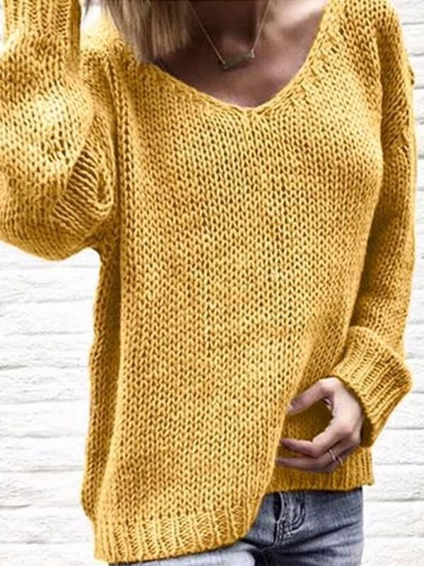 V Neck Long Sleeve Plain Knit Woman Casual Sweaters in 2020