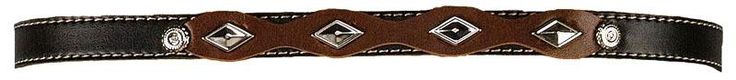 Black & Brown Hatband with Diamond Shaped Conchos