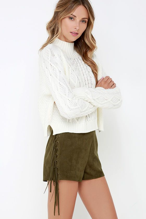 Ace of Suede Olive Green Suede Shorts at Lulus.com!