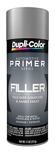 Dupli-Color EFP101007 Gray General Purpose Sandable Scratch Filler and Primer - 11 oz - Dupli-Color's filler primer features a hi-build automotive formulation capable of filling deep scratches and minor surface imperfections. A fast-drying, sandable finish allows for easy featheredging while providing a smooth and rust resistant surface that promotes top coat uniformity.