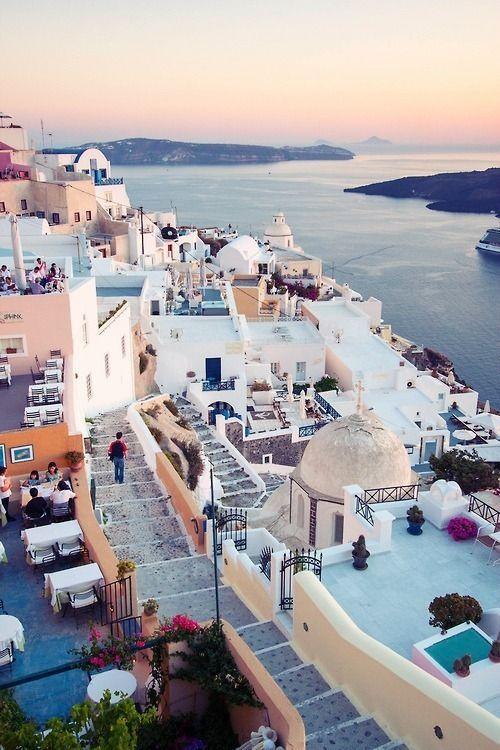 Beautiful Santorini island in Greece - the perfect honeymoon destination.