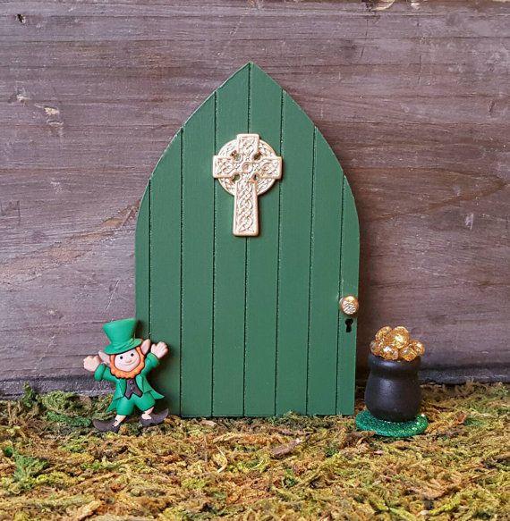 Irish Celtic Cross Fairy Door   Green Fairy Garden Door for Outdoor Fairy  Gardens Saint Patrick s70 best Irish Celtic Fairy Gardens images on Pinterest   Fairies  . Fairy Garden Ornaments Ireland. Home Design Ideas