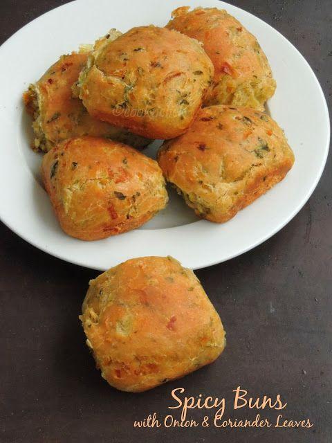 Spicy Onion buns, Khara buns, Onion & coriander leaves buns