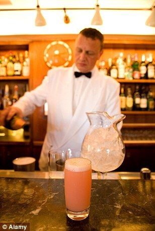 Bellini cocktail at Harry's Bar in Venice. It's a mixture of Prosecco sparkling wine and peach purée.