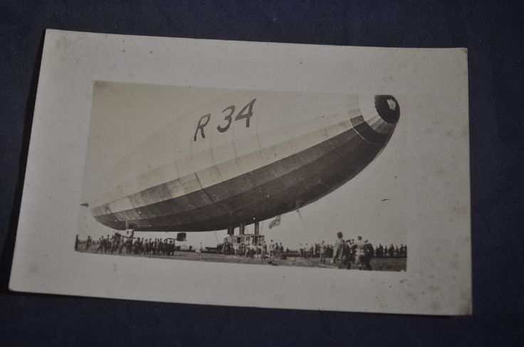 1919 *RARE* RPPC R-34 Blimp After Landing at Roosevelt Field Hempstead, LI, NY | eBay