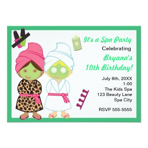 117 best images about Invitaciones Party Spa – Kids Spa Party Invitations