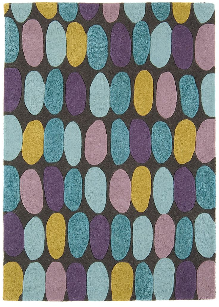 Matrix Sofia Multi Rug Features Crisp Contemporary Design In Lilac Teal Mustard And Blue On A Dark Grey Ground Hand Tufted Soft Pure New Wool