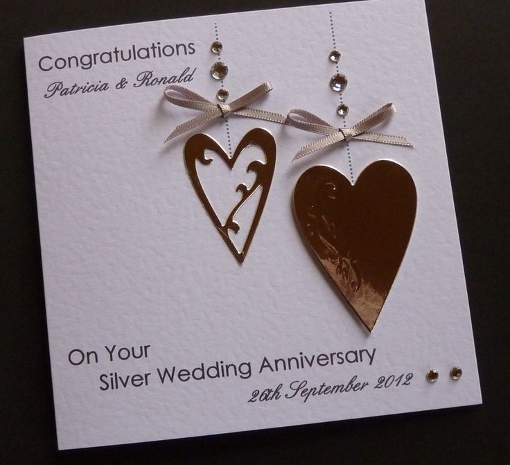 about Handmade Personalised Silver / 25th Wedding Anniversary Card