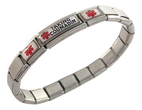 Taking Coumadin Blood Thinners Medical ID Alert Italian Charm Bracelet -- Check out this great product.