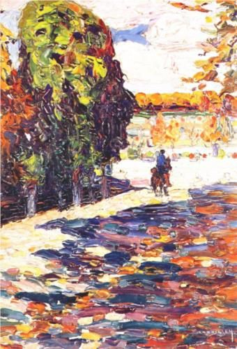 Park of St. Cloud with horseman -  Wassily Kandinsky