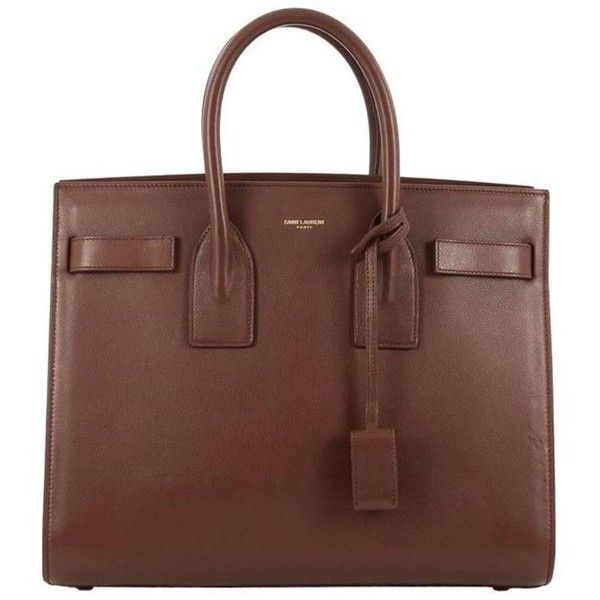 Preowned Saint Laurent Sac De Jour Handbag Leather Small ($1,590) ❤ liked on Polyvore featuring bags, handbags, tote bags, brown, totes, leather tote, brown leather handbags, brown leather tote, brown leather tote bag and brown tote bags