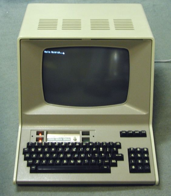 "Hazeltine 1500 terminal. Famously featured on the cover of the 1981 Kraftwerk album ""Computer World""."