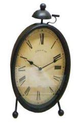 UH67036 Black Oval Vintage Clock 36cm