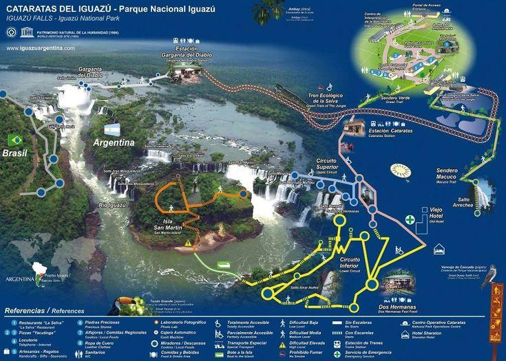 Que hacer en Iguazú, Que ver y hacer en las Cataratas de Iguazu Argentina Mapa de las Cataratas de Iguazu Visitar parque nacional de Iguazú de Argentina, Actividades de tirolina, treking en la selva, rapel, rafting, excursiones a minas de wanda, ruinas jesuitas, reservas indigenas de Misiones.