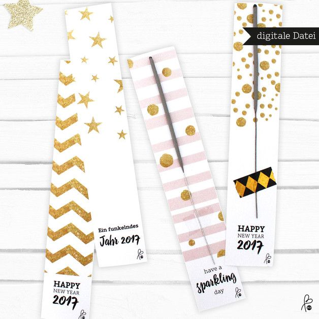 Printable für Wunderkerzen-Verpackung, Gastgeschenk zu Silvester 2017 / PDF download for miraculous packaging on new year's eve by sppiy via DaWanda.com