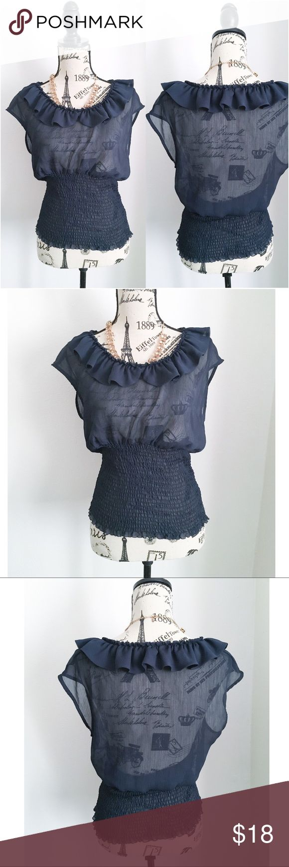 """Navy Blue Semi Sheer Top ✦   ✦{I am not a professional photographer, actual color of item may vary ➾slightly from pics}  ❥chest:20"""" ❥waist:14""""(stretchy grid) ❥length:24"""" •all measurements taken flat in inches  ➳material/care:polyester/machine wash  ➳fit:in my opinion slightly closer to medium ➳condition:gently used   ✦20% off bundles of 3/more items ✦No Trades  ✦NO HOLDS ✦No transactions outside Poshmark  ✦No lowball offers/sales are final Allen B. By Allen Schwartz Tops Blouses"""