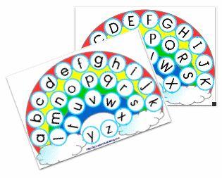 Arc en ciel de l'alphabet-correspondance scriptes/capitales Moyenne Section - Gijou à la maternelle