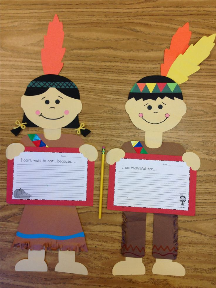 Fall / Thanksgiving Indian boy and Indian girl craft. Primary/elementary school.