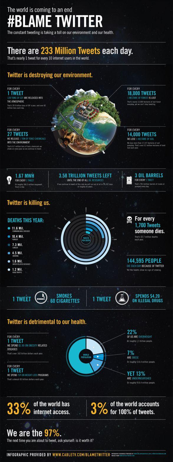 Twitter está destrozando nuestro medio ambiente. Blame Twitter, Infographic Design