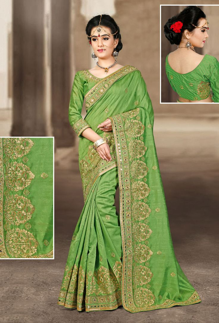 Green Bhaglpuri Silk Designer Saree #green #Trendy #onlinesari #sari #saree #WomenClothing #WomenWear #Designersari #stylishsari #nikvik #usa #designer #australia #canada #malaysia #UAE #freeshipping  Sign up and get USD100 worth vouchers.Price-US$106.52