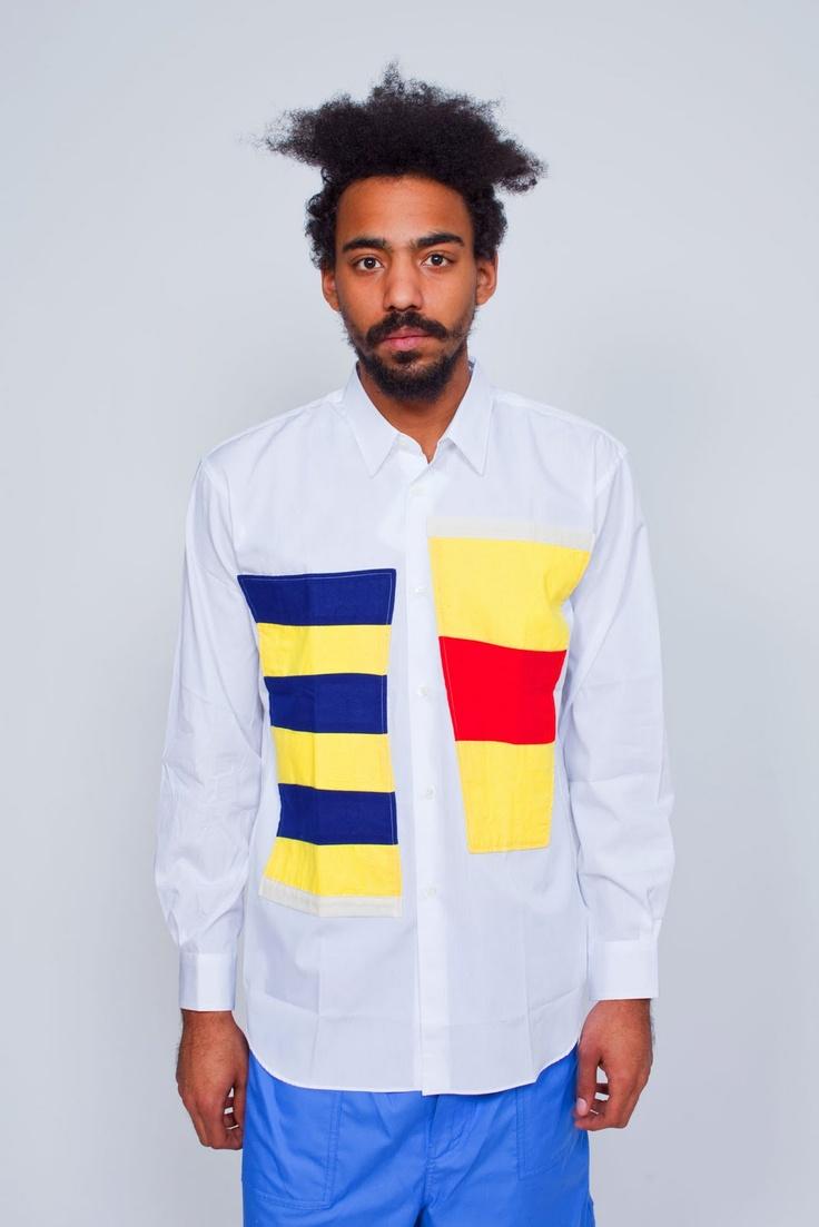 WEAR DIFFERENT: Comme des Garcons SHIRT Flags Shirt White
