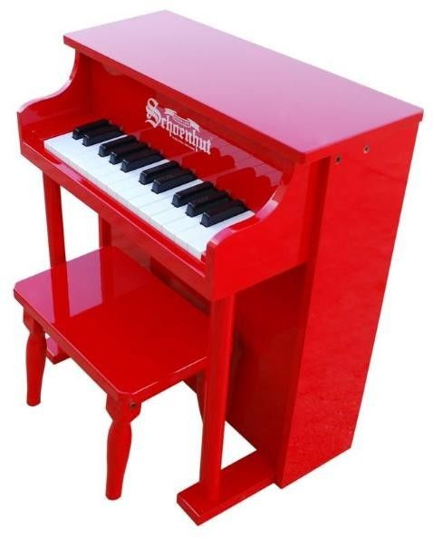 The Well Appointed House Schoenhut 25 Key Traditional Spinet Piano in Red for Kids