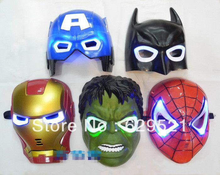 Американский супергерой железный человек, Бэтмен, Халк игрушки капитан америка паук - маски свечения flash-дети маска на хеллоуин карнавальные маски