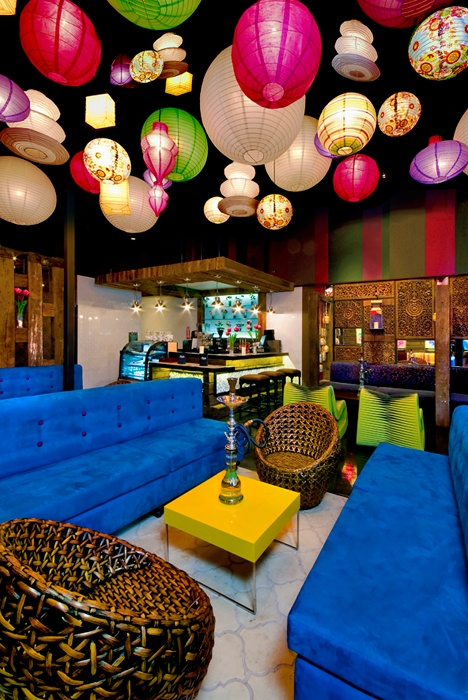 Pretty lights in the hookah bar - it's a bit much on some of the colors, but there are a few fun elements in here.